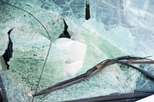 Broken windshield of car.